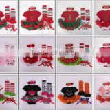2015 children Chrismas baby short sleeve tutu lace romper headbands shoes and leg warmer sets ( 4 in 1)