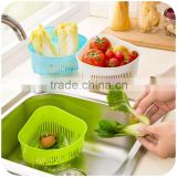 2015 colorful safe PP plastic drain basket rack collapsible colander strainer food rice fruit storage
