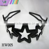 black plastic hollow five star decor wide hair style hair hoop hair band with teeth