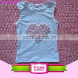 Summer crop top plain children girls tank tops 100% cotton plain kids tank tops wholesale with rosette heart