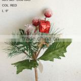 "2014 Fresh Artificial Christmas Red Fruit Pick 9"" Artificial Polyfoam With Berries and Pineneedle Pick"