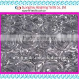Ribbon Grey Rosette Embroidery Fabric on mesh 3D Effect Floral Light Textile For women T-shirt