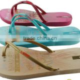 2015 chaep customized logo printed women slipper PE slipper and sandals flip flops shoes