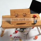 3 sides bamboo folding laptop table with USB fan