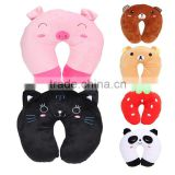 Cheap LOW MOQ cute animal u shape neck pillow case funny custom stuffed soft plush bear U shaped pillow