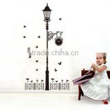 Black Butterfly Lighthouse Vinyl DIY Removable Wall Stickers Street Street lamps and Iron fence diy home decor stickersJM7177