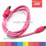 Charging Cable for samsung 1M Fabric Braided Wire Micro USB Charger Data Sync Cloth Nylon Woven Cord Colors