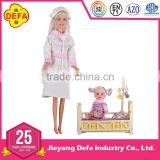 Plastic girl doll wear nurse uniform with different kinds of medical apparatus for children Wholesale Doll Toys