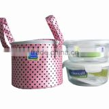 Hot Sell Round Borosilicate Glass Lunch Box Set With Takeaway Bag