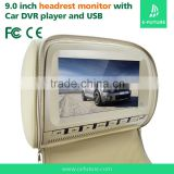 NEW car headrest DVD player with 9'' monitor support USB/SD/IR/FM/ 2 gamer car headrest mount portable dvd player