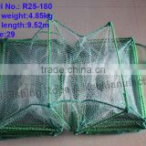 Manufacture folding fish trap with steel wire coated anti-rust PVC plastic tube