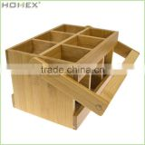 Bamboo Utensil Flatware Cutlery Caddy Holder with Handle/Homex_BSCI