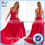 Yihao 2016 Special Offer Natural V-neck Vestidos De Fiesta Women Long Sexy Strapped Lady Party Maxi Summer dress