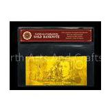 Custom AUD USD EURO Pounds Plated 24K Gold Banknote , gold paper money