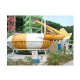 Aqua Park Equipment Fiberglass Water Slides , 19m Height Waterpark Super Bowl For 2 People