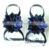 Baby Barefoot Sandals with Satin Flower with thin Elastic