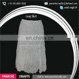 High Waist Plain White Long Pleated Lady Skirt