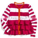 Wholesale new Red strip kids ruffle coat ,children jacket , pretty girls fall winter outwear