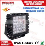 360w 9'' Square LED offroad working driving light headlight 4D reflectors for 4DW SUV UTV ATV waterproof 32400lm