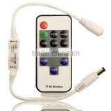 Mini Remote Controller for Single Color LED Strip Lights, RF Dimmer for 12V DC LED Light Strips