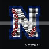 Baseball letter N Rhinestone Diamante Transfer Iron On Hotfix Motif