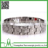Wholesale silver Stainless Steel Energy Bracelet Jewelry Double Row Energy Bio Magnetic Bracelet for Men                                                                         Quality Choice