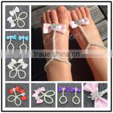 New summer baby Girls' Pearl Chiffon Barefoot Toddler Foot Flower Beach Foot Chain/Flower Perfect pearl barefoot sandals WH-1723