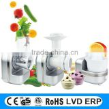 Electric icecream maker, with spiral vegetable slicer, cold press juicer 3 in 1