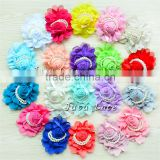 Baby Headband Chiffon Hair Flower With Beads -high quality flower with pearls