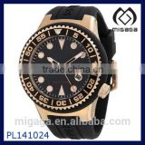 rose gold ion-plated stainless steel bezel watch screw-down crown date function