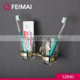 Simple Design Brass Gold Finished Double Tooth Brush Glass Holder