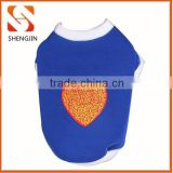 SJ-L6013 Wholesale lovely heart print dark blue pet t shirts cotton dog apperal