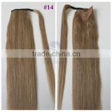 Wholesale 100% Indian Remy Wrap Around Ponytail Extension Long Drawstring Human Hair Pony tail                                                                                                         Supplier's Choice