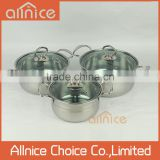 wholesale stainless steel cooking pot dinner set with glass lid/stainless steel manufacturer/cookware set stainless steel