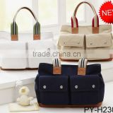 wholesale fashion cotton canvas nappy baby diaper bag with leather trim                                                                         Quality Choice