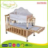 WBC-08A eco-friendly multi-purposes baby bed swinging crib teak wood