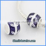 Wholesale European Sterling Silver Purple Enamel Beads BES46A