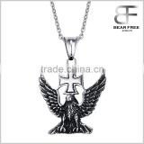 Stainless Steel Necklace Jewelry With Eagle & Cross Pendant