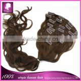 2014 New arrival 100% indian remy hair clip in hair extension beautiful wavy