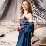 2015 newest style fashion 100% pure silk nightgown for ladies