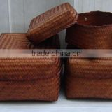 Hot sale bamboo storage box set of 3 bamboo bathroom set cheap bamboo/wicker basket, craft basket