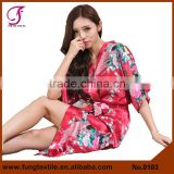 0103 Long Design Silk Women Polyester Kimono Robes