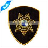 Security Sew On Embroidery Badge Patch, Twill Fabric Textile Uniform Clothes Patch with Merrow Border