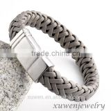 high quality mens broad bracelet of leather with magnetic stainless steel clasp