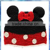 100% cotton Micky mouse crochet beanie hat for baby/hand knitted children hat/cute girls winter hats