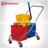 Metal handspike plastic roller wringer trolley, heavy duty cleaning double mop bucket wringer