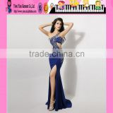 Factory Price Backless For Fat Women Blue Sexy Evening Dress New Arrival Slit Beaded One Shoulder Blue Sexy Evening Dress