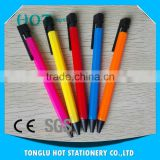 China low price products Solid color barrel, black neb and clip promotional logo plastic pen