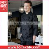 supply made of 245gsm drill fabric traditional black bartender uniform featuring Two pen pockets on sleeve(LCTU0025)