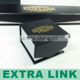 Luxury various color fancy paper made logo stamping gold magnet closure black jewelry box